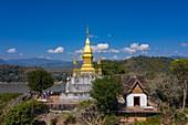 Aerial view of the pagoda on Mount Phousi, Luang Prabang, Luang Prabang Province, Laos, Asia