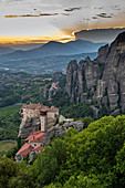 Holy Monastery of St Nicholas Anapafsas at sunset, UNESCO World Heritage Site, Meteora Monasteries, Greece, Europe