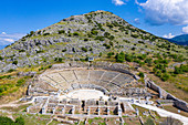 Aerial by drone of the Amphitheatre, Philippi, UNESCO World Heritage Site, Macedonia, Greece, Europe