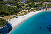 Aerial by drone of Tsambou Beach, Samos, Greek Islands, Greece, Europe