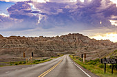 Driving and sightseeing in the Badlands National Park, South Dakota, United States of America, North America