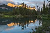 Ha Ling Peak sunrise at Policeman Creek, Canmore, Alberta, Canadian Rockies, Canada, North America