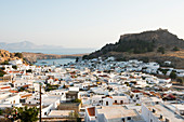 View over Lindos town, Rhodes, Dodecanese, Greek Islands, Greece, Europe