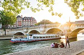 France, Paris, area listed as World Heritage by UNESCO, Ile de la Cite, at the Quai des Orfevres, the Neuf Bridge in the background