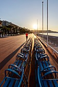 France, Alpes Maritimes, Nice, Promenade des Anglais, the blue chairs