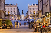France, Meurthe et Moselle, Nancy, street Stanislas and Place Stanislas with his statue or former Royal Place listed as World Heritage by UNESCO built by Stanislas Leszczynski king of Poland and last Duke of Lorraine in the 18th century