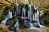 France, Doubs, Blamont, waterfall of the hollow, winter, ice