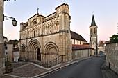 France, Charente, Aubeterre sur Dronne, labelled Les Plus Beaux Villages de France (The Most beaul Villages of France), on el Camino de Santiago, Saint Jaques church, romanesque frontage of 12th century