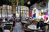 France, Paris, the Barbes district, Brasserie Barbes, the patio of the first floor