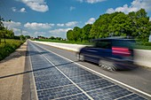 France, Orne, Tourouvre, solar road, one kilometer road, equipped with photovoltaic cells, producing an average of 409 kWh per day