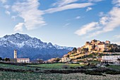 France, Haute-Corse, Balagne, village perched of Sant' Antonino, ceied the Most beaul Villages of France, overview of the village with the church of the Annonciation from XIe century