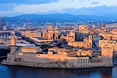 France, Bouches du Rhone, Marseille, 2nd district, Euromediterranee area, Fort Saint Jean listed Historical Monument, MuCEM, Museum of Civilizations of Europe and the Mediterranean R Ricciotti and R Carta architects, La Major Cathedral (19th century) listed as a Historic Monument