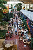 France, Paris, National Library of France (BNF) district, Restaurant La Felicita, of Big Mama, mega restaurant of 4500 m2 in the heart of Station F, the gigantic incubator of start ups, Historic train wagons adorned with street art