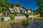 France, Normandy, Seine Maritime, Veules les Roses, The Most Beaul Villages of France, cottage on the banks of the Veules