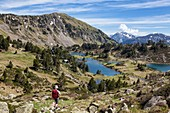 France, Hautes Pyrenees, hiker walking down to the refuge and lakes of Bastan, GR10 footpath