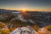 France, Alpes-de-Haute-Provence, Verdon Regional Nature Park, Grand Canyon du Verdon, cliffs seen from the Pas de la Bau belvedere