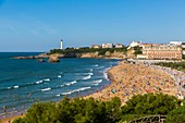 France, Pyrenees Atlantiques, Basque Country, Biarritz, the big beach of Biarritz with the lighthouse and the Palace Hotel