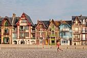 France, Somme, Mers les Bains, vertical seaside architecture villas