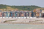France, Somme, Mers les Bains, beach cabins and vertical seaside architecture villas