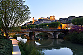 France, Gers, Auch, stop on El Camino de Santiago, the banks of the Gers river, Armagnac tower and St Marie Cathedral dated 15th-17th centuries in the upper part of the town