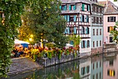 France, Bas Rhin, Strasbourg, old city listed as World Heritage by UNESCO, Petite France district, restaurants Quai de la Bruche