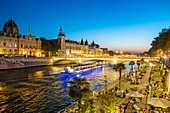France, Paris, the banks of the Seine classified UNESCO, Rives de Seine Park, Paris Plage event and the Conciergerie