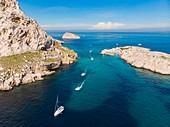 France, Bouches du Rhone, Marseille, Calanques National Park, Cap Croisette, Croisette passage (aerial view)