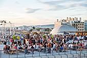 France, Bouches du Rhone, Marseille, the Friche de la Belle de Mai, the roof terrace open on summer weekends
