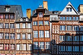 France, Ille et Vilaine, Rennes, Champ-Jacquet square is lined with 17th century half timbered houses