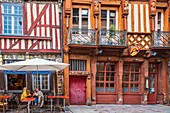 France, Ille-et-Vilaine, Rennes, Chapitre street 20, half-timbered house with carved polychrome busts of the 16th century