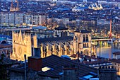 France, Rhone, Lyon, 5th district, Old Lyon district, historical site listed as World Heritage by UNESCO, Cathedral Saint Jean-Baptiste (12th century), listed as a Historic Monument