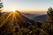 Sunset over the Zwiesel, Chiemgau Alps, Chiemgau Alps, Inzell, Bavaria, Germany