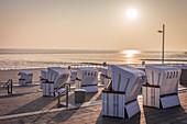 Beach chairs on the dike in Büsum, North Friesland, Schleswig-Holstein
