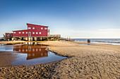 Stilt house on the beach in St. Peter-Ording, North Friesland, Schleswig-Holstein