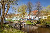 Canal in the old town of Friedrichstadt, North Friesland, Schleswig-Holstein