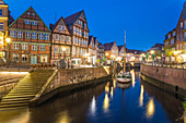 Evening at the old Hanseatic harbor in Stade, Lower Saxony, Germany