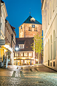 Evening mood in the historic old town of Stade with St. Wilhadi Church, Lower Saxony, Germany