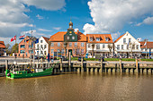 Harbor house and historic houses at the harbor of Tönning, North Friesland, Schleswig-Holstein