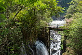 Bridge over waterfall at Iguazu Falls, Iguazu National Park, Misiones, Argentina, South America