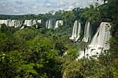 Long exposure of waterfalls of the Iguazu Falls, Iguazu National Park, Misiones, Argentina, South America