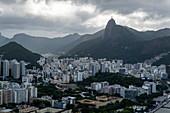 View over city from Sugar Loaf Mountain (Pao de Acucar), Rio de Janeiro, Rio de Janeiro, Brazil, South America