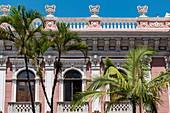 Palm trees in front of Cruz e Sousa Palace and Santa Catarina Museum of History, Florianopolis, Santa Catarina, Brazil, South America