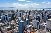 Aerial view of city skyscrapers, Florianopolis, Santa Catarina, Brazil, South America