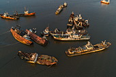 Aerial view of dilapidated boats and ships rusting in the harbor, Montevideo, Montevideo Department, Uruguay, South America