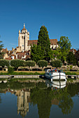 City view and houseboats on the Doubs, Dole, Jura department, Franche-Comte, France
