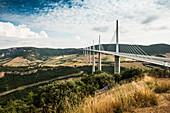 Motorway bridge over the Tarn, Millau Viaduct, built by Michel Virlogeux and Norman Foster, Millau, Aveyron, Midi-Pyrénées, France