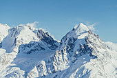 Panorama at the Corvatsch Glacier, Engadin, Grisons, Switzerland, Europe