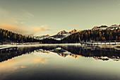 Morning mood at Lake Staz, Engadin, Graubünden, Switzerland, Europe;