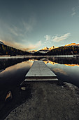 Jetty on Lake Staz, Engadin, Grisons, Switzerland, Europe