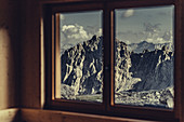 View from the window in the Totalphütte on a mountain near Lünersee, Vorarlberg, Austria, Europe